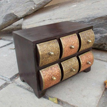 6 Drawers Chest - Copper Brass