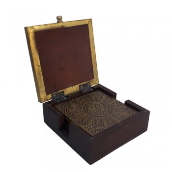 Embossed Brass Art Tea Coaster- Set of 6 in a Box.