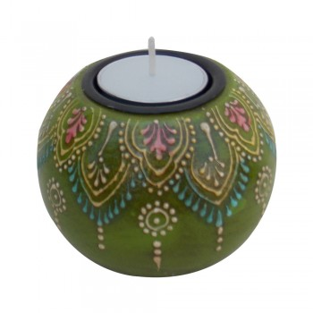 Hand Painted Wooden Ball T Light Candle Holder- Assorted colours and designs
