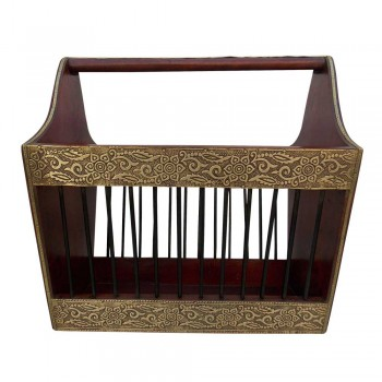Dark Walnut Polished Wood & Iron Craft Magazine Basket - Embellished with Embossed Brass Artwork