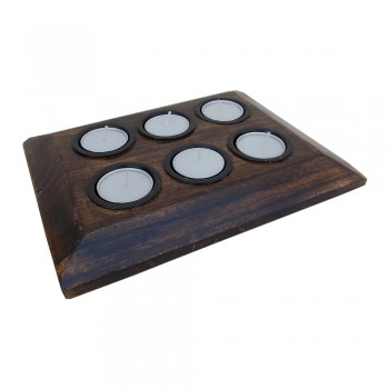 Six Tea Light Holder Tray -  Polished Wooden Craft