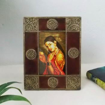 Brown Wood Brass Art Photo Frame