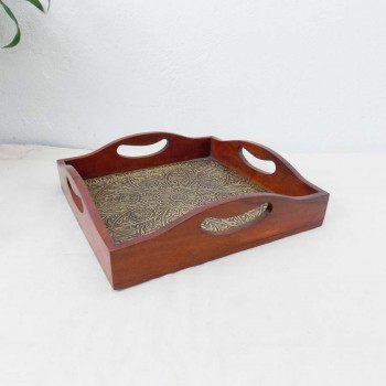 """Wood & Brass Square Tray - 16"""" x 16"""""""