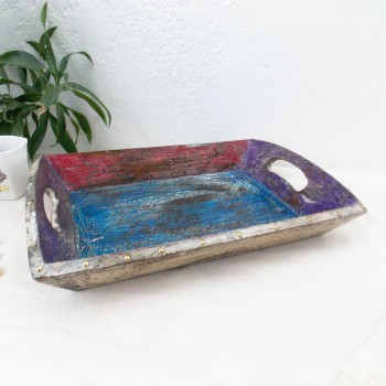 Multicolored Distress Tray -  Set of Three