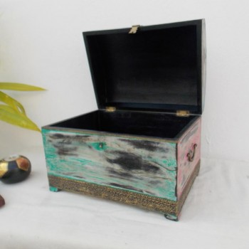 "Blue & Pink Rustic Wooden Box 14""x10""x10"""