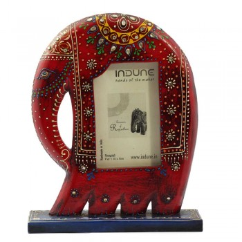 Elephant Photo Frame with Stand - Rustic Red/ Blue/ Grey