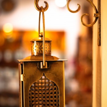 Antique Golden Finish Iron Lantern with wall Bracket