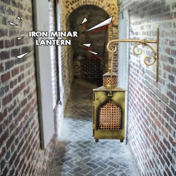 Antique Golden Finish Iron Minar Lantern with wall Bracket
