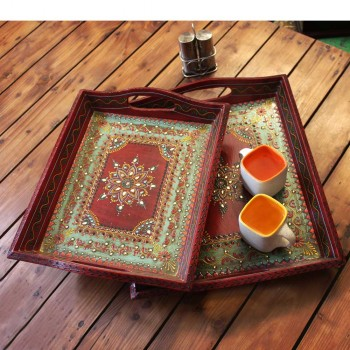 Hand Painted Wooden Serving Tray (Set of Three)