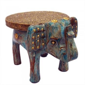 Wooden Elephant Brass Art - Distressed Blue