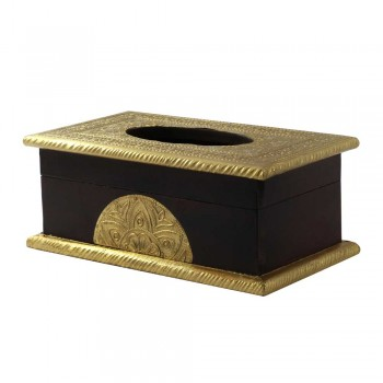 Wooden Tissue Box Brass Art