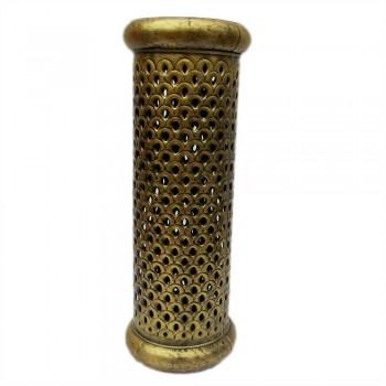 Cylindrical Planter, Antique Golden, Iron