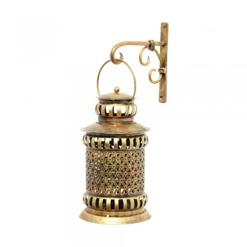 Iron Gajra Lantern - Antique Golden 11 Inch with & Bracket for Hanging
