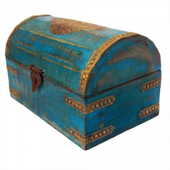 Wooden Box Half Round , Rustic Blue, Embossed Brass Art
