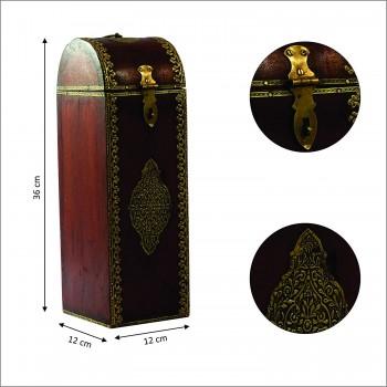 Polished Wine Bottle Case with Brass Art