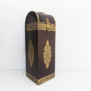 Polished Bottle Case with Brass Art (Assorted Colour & Designs)