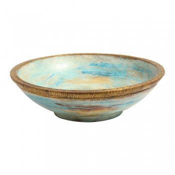 Wooden Rustic Bowl with Embossed Brass Art - Distress White