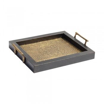 Wood Tray with Embossed Brass Art & Handle