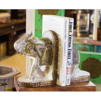 Wooden Elephant Rustic White Book Ends Set