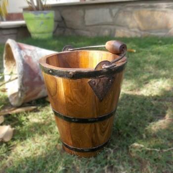 Wooden Bucket Planter Small