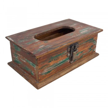 Wooden Tissue Paper Box Distressed