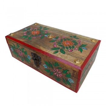Wooden Galla Box ( Floral Painted , Natural Polish )