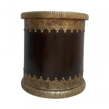 """Brown Polished Wooden Planter Adorned with Brass Art (10"""")"""