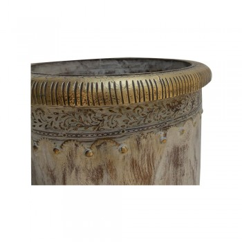 """Distress Off white Painted Wooden Planter Adorned with Brass Art (10"""")"""