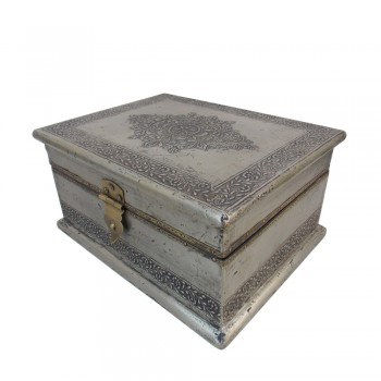 "Box- Embossed White Metal Artwork, Antique Finish, 9""x7""x5"""