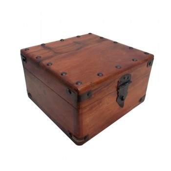 Brown Polished Wooden Storage Box with Metal Studs