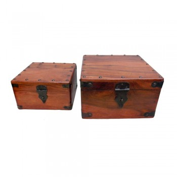 Brown Polished Wooden Storage Box with Metal Studs - Nested Set of Two