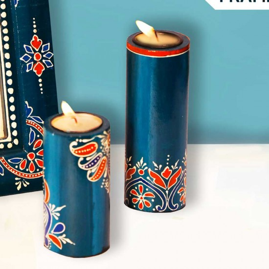 Candle Stand Cylindrical Set OfTwo (Collection- Flora On Sapphire)