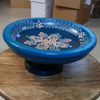 Bowl With Stand / Cake Stand (Collection- Flora On Sapphire)