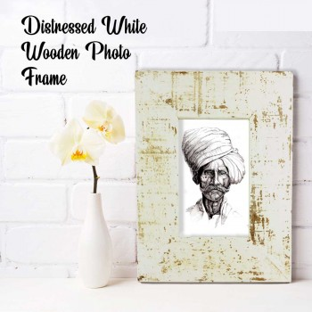 Wooden Photo Frame - Rough Distressed White 4x6