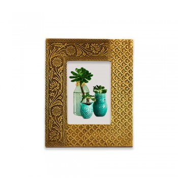 Wooden Photo Frame - Embossed Metal 5x7