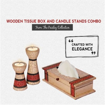 Candle Stands and Tissue Box Combo from Elegant Paisley Collection