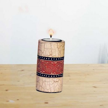 Candle Stand Cylindrical Small (Collection- Elegant Paisley)