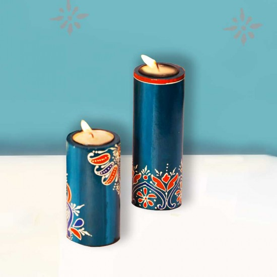 Candle Stand Cylindrical Set of Two (Collection- Flora On Sapphire)