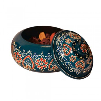 Round Box / Bowl With Lid (Collection-Flora On Sapphire)