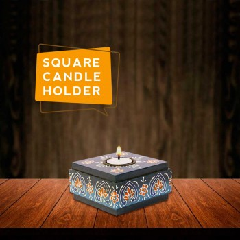 Square Candle Holder (Collection- Flora On Sapphire)