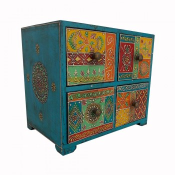 Colorful Chest of 4 Drawers - Handpainted
