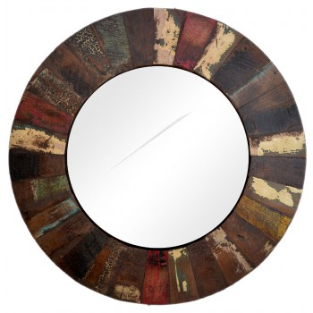 Reclaimed Wood Round Mirror Frame