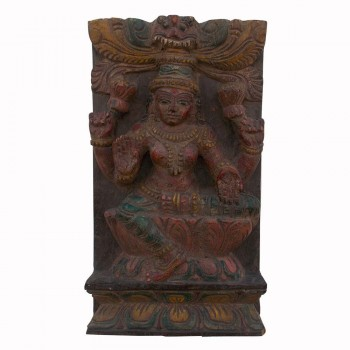 Laxmi Mata - Antique Carved Wooden Wall Piece