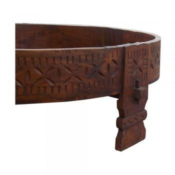 "Antique Polished Round Wooden Base of Hand Operated Atta Chakki/Ghatti  - 32"""