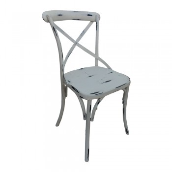 Distress White Painted Shabby Chic Metal Craft Dinning Chair
