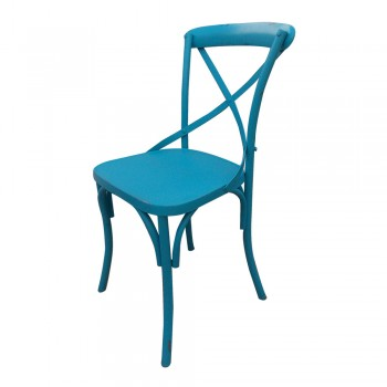 Blue Patina Painted Shabby Chic Metal Craft Dinning Chair