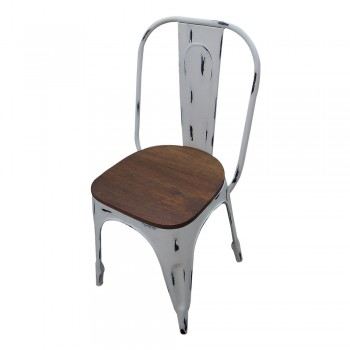 Distress White Painted Shabby Chic Iron Chair with Wooden Seat