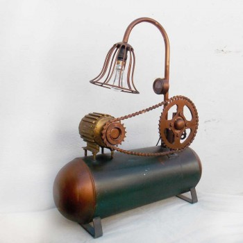 Recycled Industrial Mechanical Components Compressor Desk Lamp
