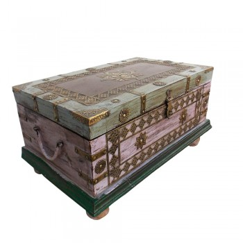 Vintage Finished Pastel Coloured Wooden Sandook Treasure Box - Embossed Antique Brass Fitting