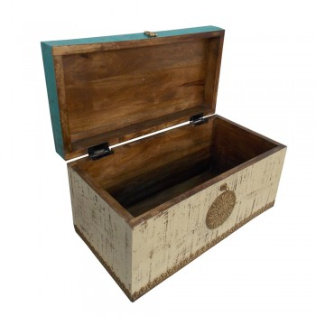 Distressed Painted Wooden Treasure Box With Embossed Brass Art Work - Small